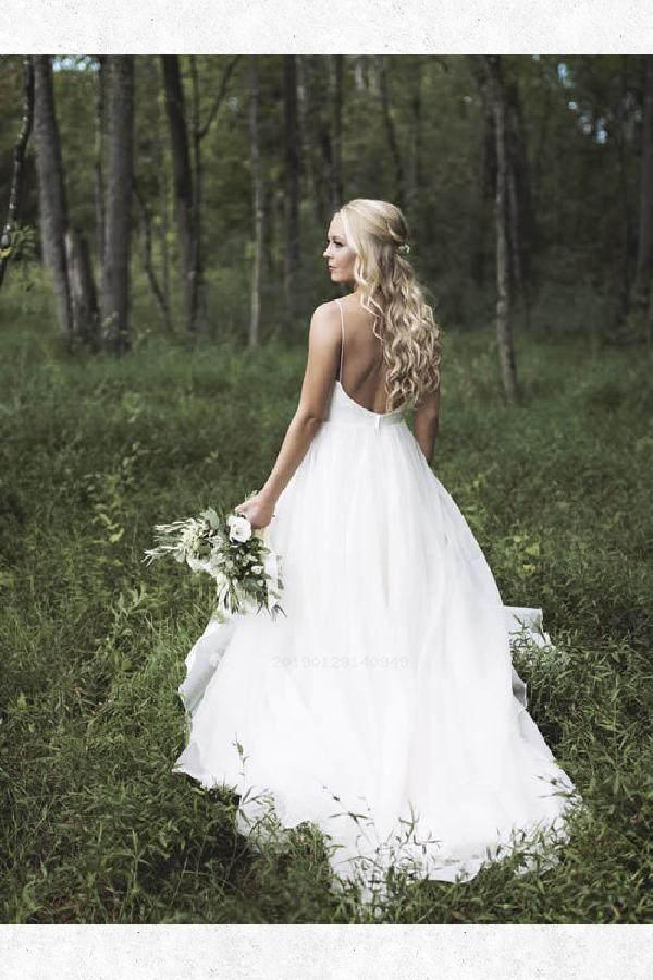 Feminine 2019 Wedding Dresses Simple A-line V Neck White Long Wedding Dress