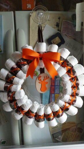 Camo diaper wreath.  I did finish ribbon