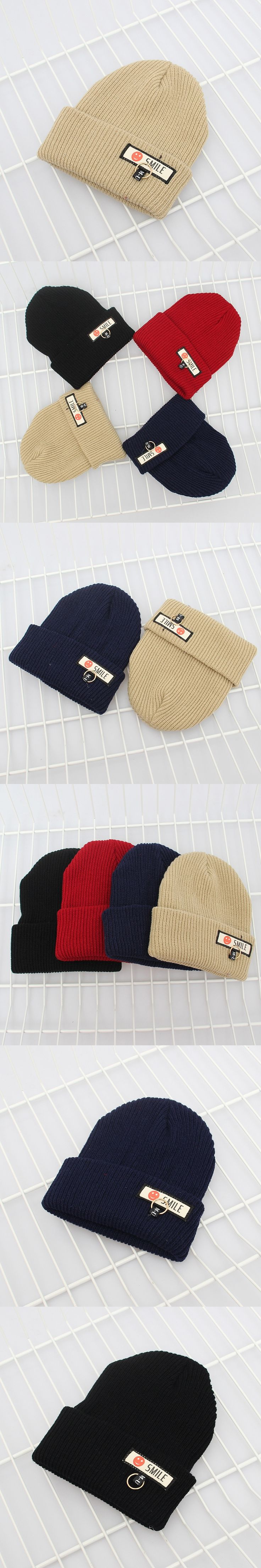 1 Piece Smile Patch Cloth Patchwork Iron Ring Knitted Wool Hat Unisex Hip Hop Beanies Hat Fall and Winter Warm Ski Cap 10182