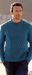пуловер мужской вязанный спицами
