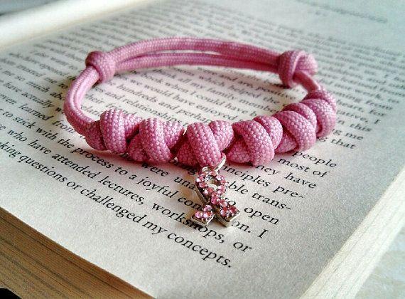 Breast cancer awareness bracelet paracord, adjustable paracord, simple bracelet