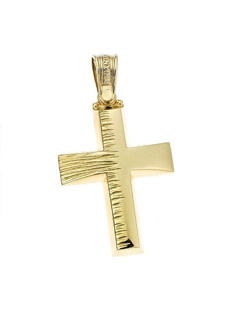 Σταυρός Βαπτιστικός Τριάντος Χρυσός Κ14 Αναφορά 021020 Βαπτιστικός σταυρός του οίκου Τριάντος , για αγόρι ή για άνδρα κατασκευασμένος από Χρυσό 14Κ σε κίτρινο χρώμα ο οποίος μπορεί να συνδυαστεί με αλυσίδα Χρυσή 14Κ ή με δερμάτινο κορδονάκι στο χρώμα της αρεσκείας σας.
