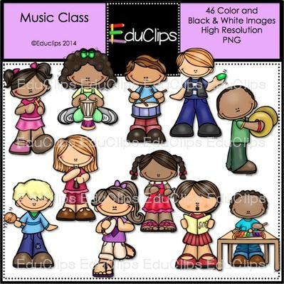 Music Class Clip Art Bundle from Educlips on TeachersNotebook.com -  (46 pages)  - Music Class Clip Art Bundle - Children playing musical instruments.