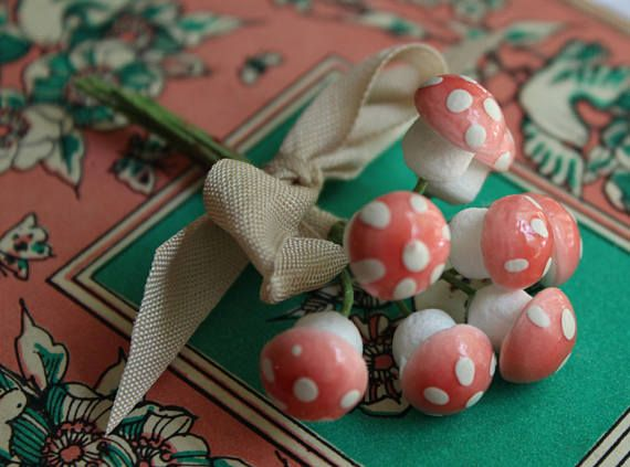 Pale Pink German Spun Cotton Mushrooms Set of 8  Tiny Pastel