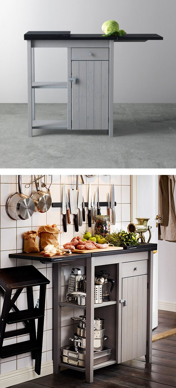 Meet the OLOFSTORP storage unit for the kitchen! It's easy to extend the table top for serving, or any time you need more surface space. The top folds out in two directions and doubles in size!