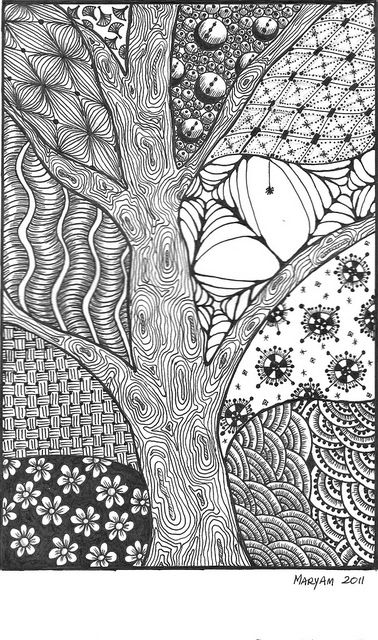 Zentangle Coloring Pages Tree Trunk