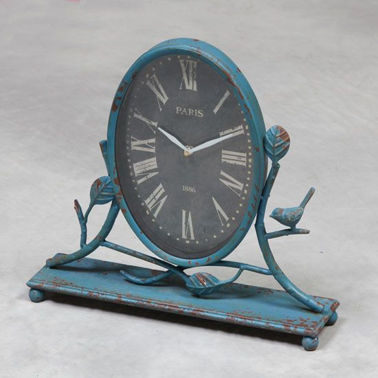 Antique style mantle clock finished in shabby chic blue