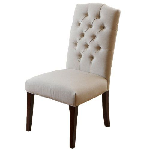 Clark elegant upholstered dining chairs w button tufted for Elegant upholstered dining chairs