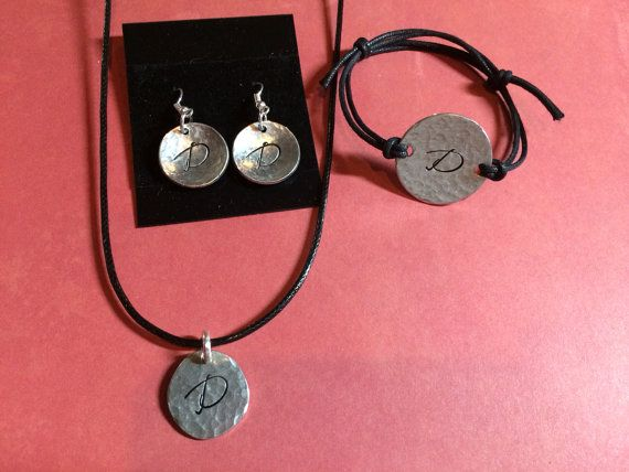 Initial Monogram Pewter texturized River stone Necklace Earring  and Bracelet Set with leather cord or chain Mothers Day Gift Birthday  on Etsy, $40.00