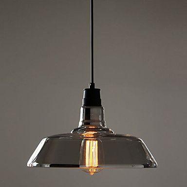 Glödlampa ingår Hänge, 1 ljus, American Style Rustic Transparent Metall Målning – SEK Kr. 1,030