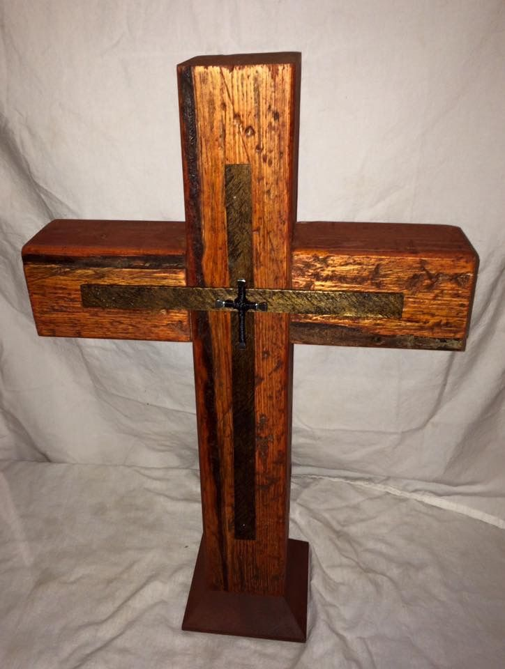 Handmade solid wood rustic cross. Custom made by Belle Furnishings Home Decor home based business.