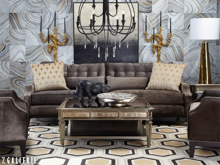 A Dramatic, Fashionable Space Is The Epitome Of Luxe Living. Get Inspired  By Pairing Charcoal Furnishings With Lustrous Gold Accessories