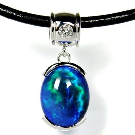 Hand made designer's Black Opal Pendant in K18 WG & Diamond www.gemstory.com.au