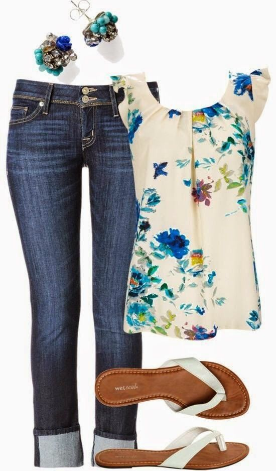 I like the contrast between the dark jeans (I like crops) and the light top. Also love floral patterns. The shoes are really simple but look somewhat dressy, which could be versatile.