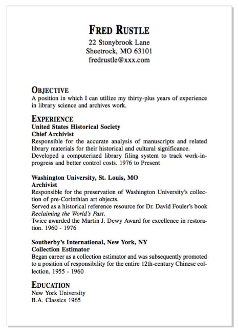 example of chef archivist resume
