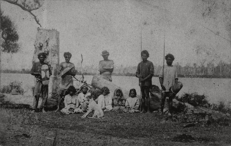 A family of Bundjalung people near Grafton Nsw Australia, On the bank of the…