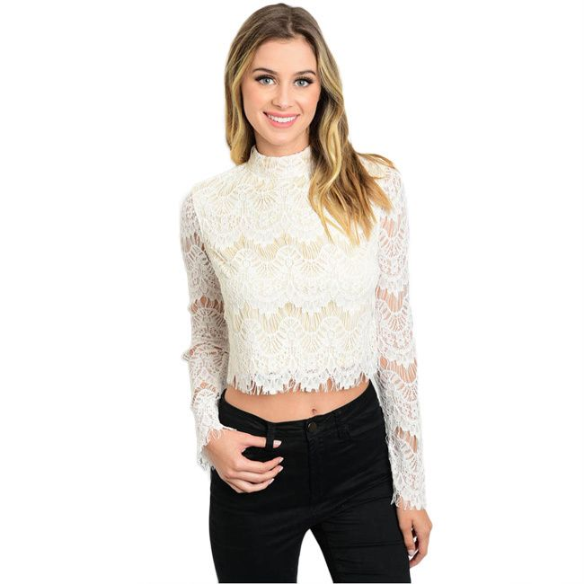 Shop The Trends Women's, Nylon, Rayon Long Sleeve Lace Crop Top