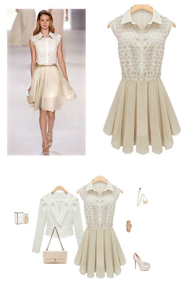 Bej Rengi Kolsuz Dantelli Çiçek Desenli Şifon Kore Modası Bayan Elbise Japon Stili Yeni Sezon S, M, L, XL 4 Beden Seçeneği Ücretsiz Kargo e1-b