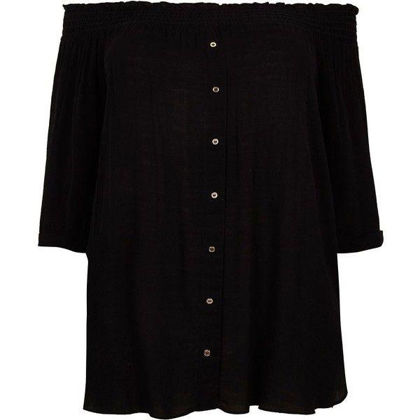 River Island Plus black shirred bardot shirt (945 MXN) ❤ liked on Polyvore featuring tops, bardot / cold shoulder tops, black, women, 3/4 sleeve shirts, plus size cold shoulder tops, plus size tops, plus size open shoulder tops and 3/4 sleeve tops
