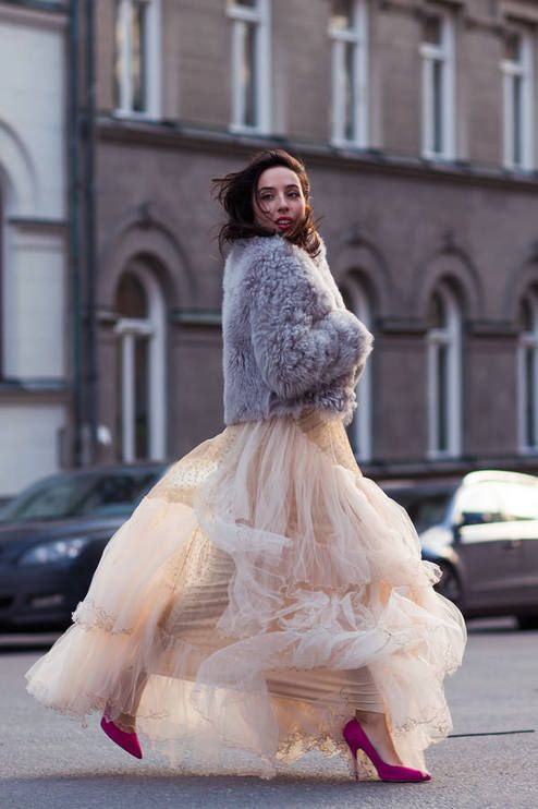 Tulle Skirt, big fluffy jumper pink shoes , quirky outfit for a formal , christmas ball or party on a cold winter nught alice