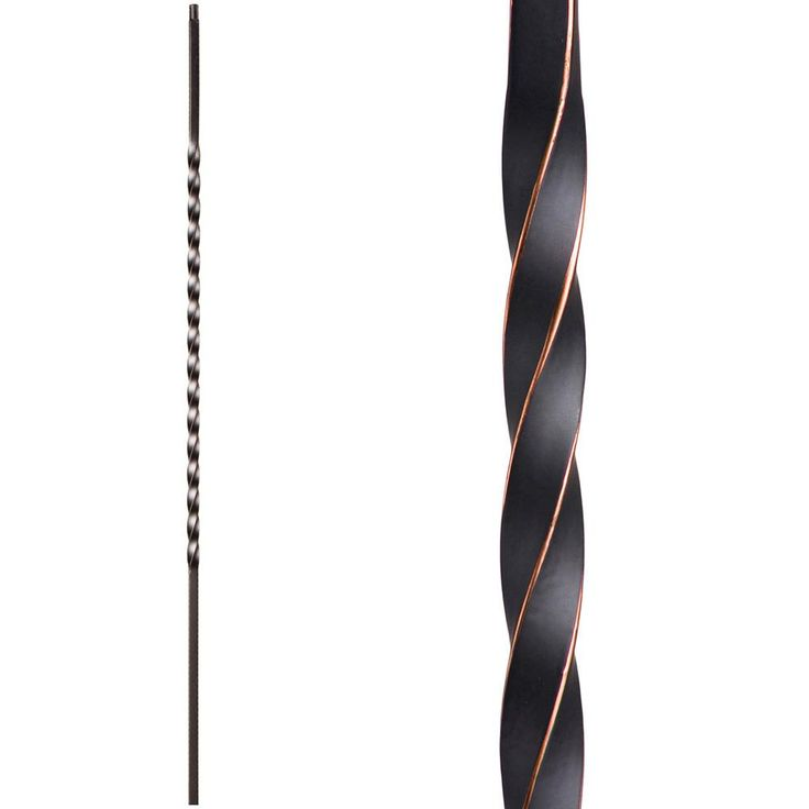 HOUSE OF FORGINGS Twist and Basket 44 in. x 0.5 in. Oil Rubbed Copper Long Single Twist Hollow Wrought Iron Baluster