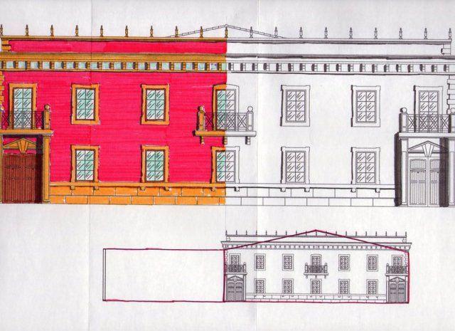Boceto para fachada de salón de bodas en Castro del Río (Córdoba).