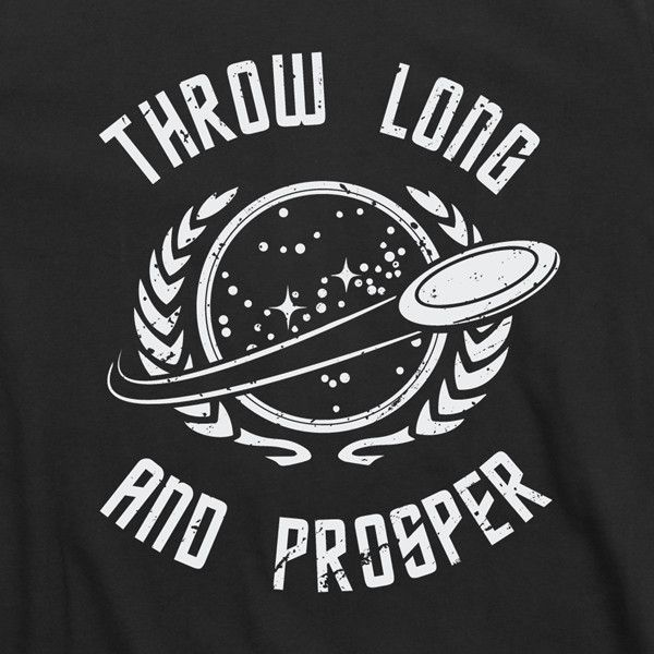 """Throw Long & Prosper"" Black Tee AVAILABLE IN: Small, Medium, Large, X-Large, 2X Constructed using only the highest quality 100% combed ring-spun cotton. It is a super soft 30 single 4.3 oz. Low shrin"