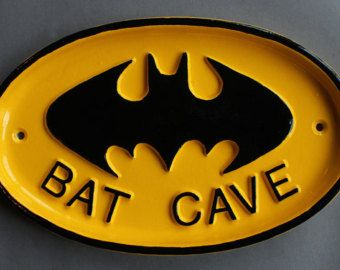 Vintage Bat Cave Batman Man Save Sign - Shed Garage Dad Gift Man Cave Sign Plaque Solid Cast Metal UK Made