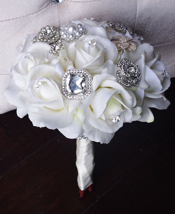 Silk Brooch Wedding Bouquet Natural Touch Roses and by Wedideas