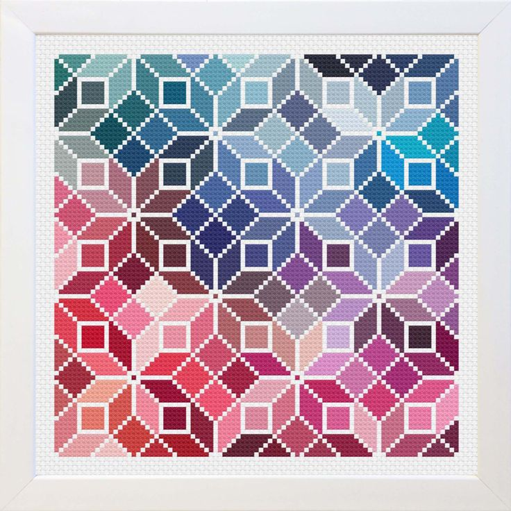 Counted Cross Stitch Rainbow Quilt Pattern by EmblemsDesign on Etsy https://www.etsy.com/ca/listing/456414928/counted-cross-stitch-rainbow-quilt
