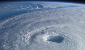 Hurricane Isabel churns below the International Space Station in 2003.