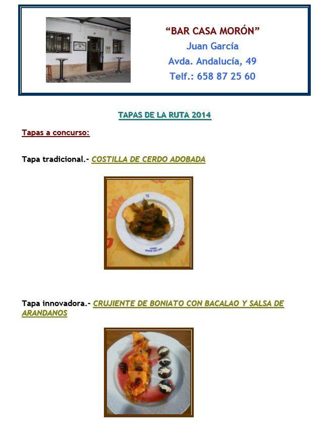 Estas son las propuestas con las que participa Bar Morón en la Ruta de la Tapa en Lebrija.