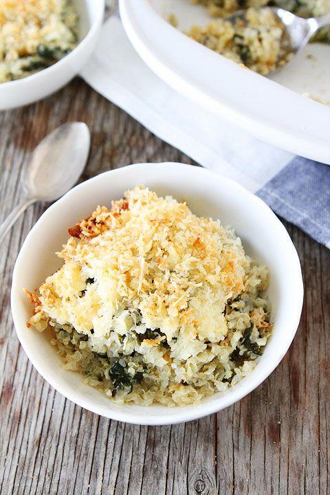 Spinach and Artichoke Quinoa Bake Recipe on twopeasandtheirpod.com Love this easy quinoa bake!