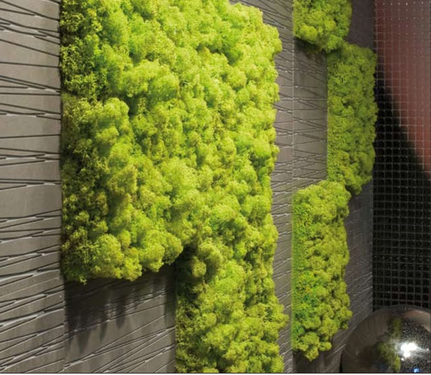 Living moss tiles.  No water, no light, no maintenance.