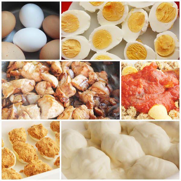 Huevos rellenos de pollo pasos