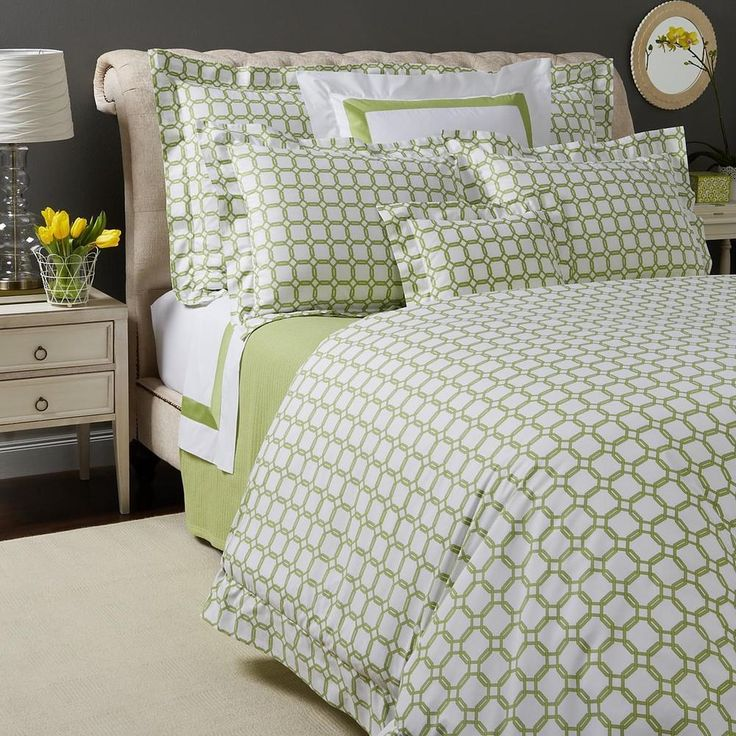 Sferra Barrington CHARTREUSE GREEN Full Queen Duvet / Comforter Cover #SFERRA