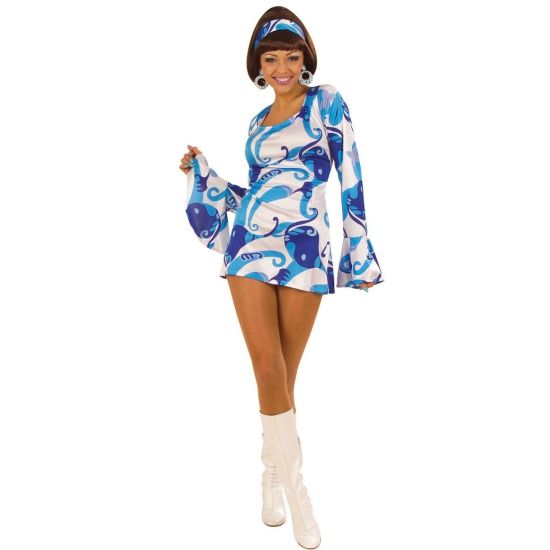 Blauw dames jurkje in hippie stijl. Dit leuke dames jurkje met print is blauw met wit gekleurd en is inclusief de hoofdband. Bestel hier ook uw hippie pruik en andere hippie accessoires.