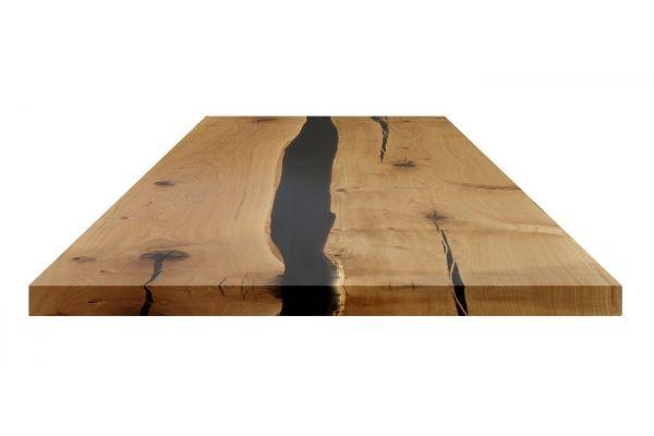 Tisch Mit Massivholzplatte Und Untergestell Aus Glas Esstisch Massi Esstisch Holz Massiv Tisch Eiche Massiv Esstisch Glas
