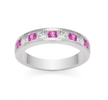 Milgrain Diamond and Pink Sapphire Ring in 18k White Gold #DiamondManufacturers  #Diamonds #Sapphires