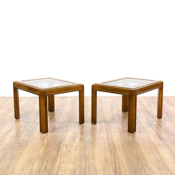 """This pair of """"Drexel"""" end tables is featured in a solid wood with a glossy oak finish. These contemporary style side tables have glass tops, sturdy legs, and beveled edges. Perfect for holding drinks! #contemporary #tables #endtable #sandiegovintage #vintagefurniture"""