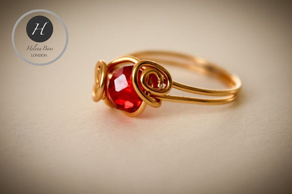 Gold and Red Crystal Ring-handmade artisan ring-love knot ring-gift for brides maids mothers girlfriends sister Christmas stocking filler