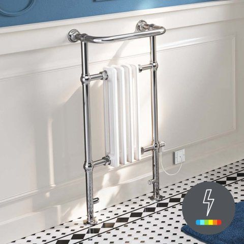 952x405mm Small Electric Thermostatic Traditional White Towel Ra [PT-RT26ET] - £199.99 : Platinum Taps & Bathrooms