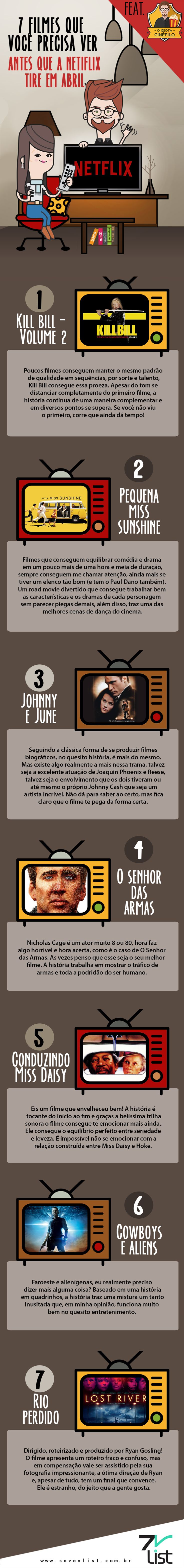 A Netflix já divulgou a lista de filmes que não farão mais parte do seu catálogo em abril. Já sabe quais são? Não? Fique tranquilo, o Idiota Cinéfilo separou 7 dos vários filmes que você precisa ver antes que a Netflix tire. #SevenList #Infographic #Infográfico #Ilustração #Illustration #List #Lista #Netflix #Filmes #Catálogo #Cartaz #Movie #KillBillvolume2 #Abril #PequenaMissSunshine #JohnnyeJune #SenhordasArmas #CondunzindoMissDayse #CowboyseAliens #Rioperdido