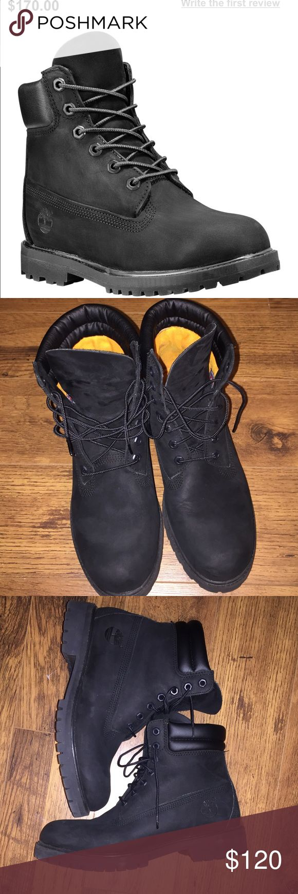 All Black Timberland boots All Black Timberland boots. Great Used condition. Look like new. Size 11 in women or size 9 in men. Timberland Shoes