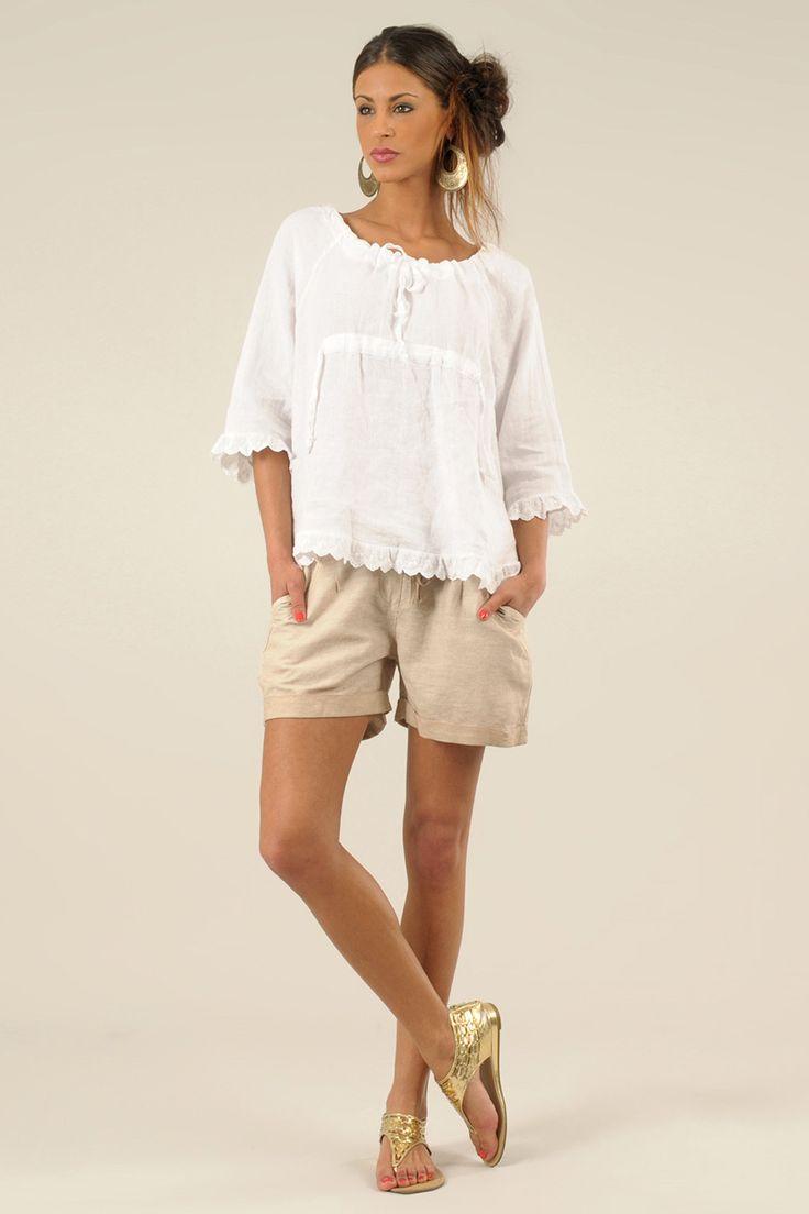 Бежевые шорты летние Lin Blanc