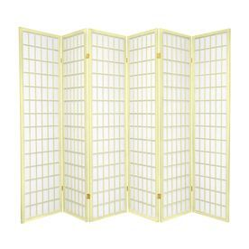 oriental furniture window pane 6panel ivory wood and paper folding indoor privacy screen