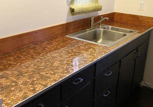 Encimera de cocina DIY con monedas