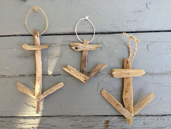 Anchor Ornament Driftwood Ornament Driftwood by WigglyWilliam