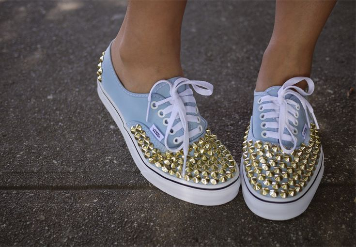 DIY Studded sneakers: a pair of sneakers,150 – 200 brass cone spikes