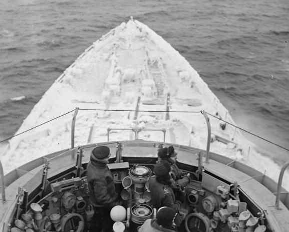 View from above HMS BELFAST's open bridge.